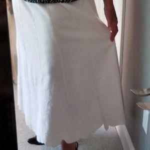 White linen/rayon embroidered maxi skirt SZ 10
